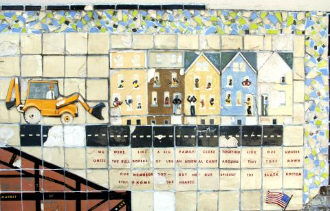 A mosaic displaying a bulldozer approaching a row of houses filled with African American residents.