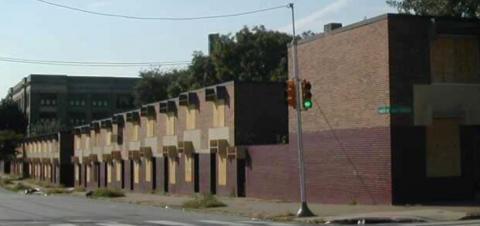 Shuttered Low-Rise Buildings Pending Demolition