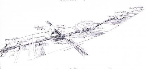 Louis Kahn Rendering of Mill Creek Project
