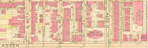 1927 Bromley map of Martha Washington Public School