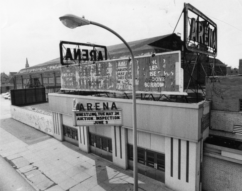 Exterior of the Arena shortly before its auction in 1977