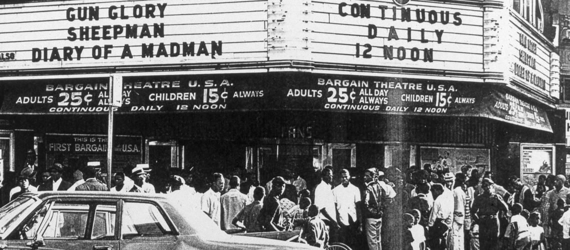Fans Theater advertises two second-run westerns, Gun Glory (1957) and The Sheepman (1958). Diary of a Madman, staring Vincent Price, first ran in theaters in 1963.