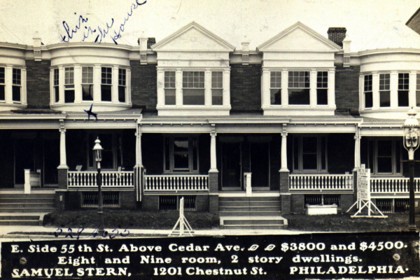 A postcard advertising rowhouses for sale in 1914, just two years before Philadelphia experienced a severe housing crisis.