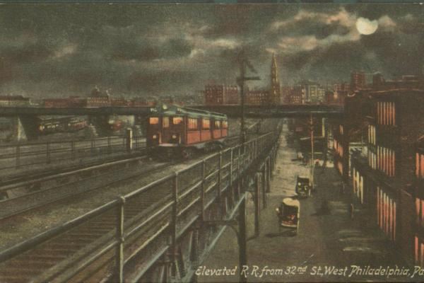 An early 20th-century postcard displays the Market Elevated subway at 32nd and Market Streets.