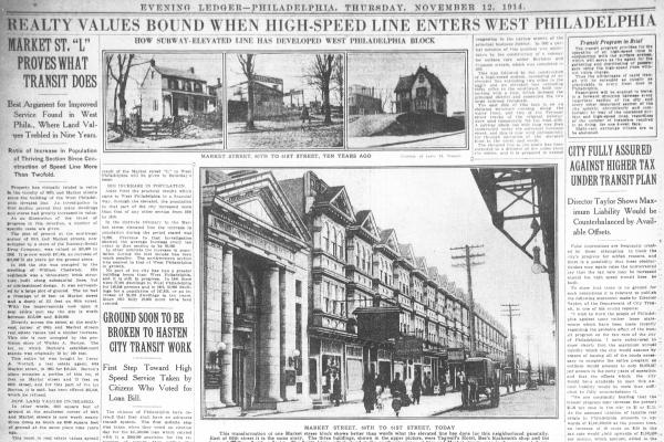 Philadelphia Evening Ledger page illustrating the Market Elevated's impact on West Philadelphia's growth in 1914.